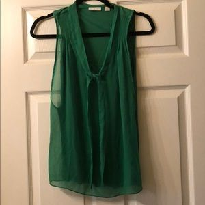 Green Sleeveless Blouse with tied neckline